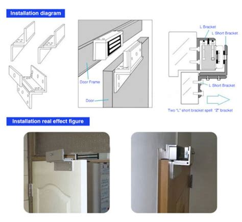 Magnetic Lock 600lbs Monitored With Zl Bracket z l mounting door lock bracket for 500kg 1200lbs