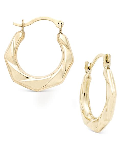 macy s hexagon textured hoop earrings in 10k gold in
