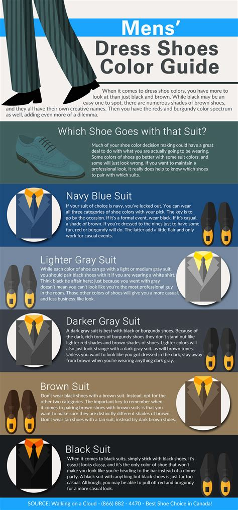 suit color guide mens dress shoes color guide infographic