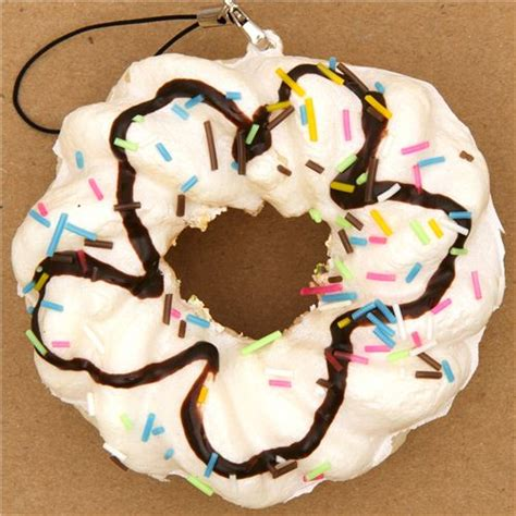 Toys Donuts Whitesugar big white flower donut squishy charm with sprinkles food