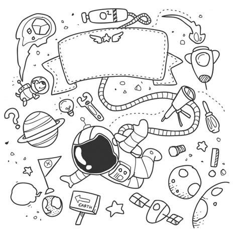 doodles in outer space 1539195775 astronauta en el espacio exterior doodle descargar vectores premium