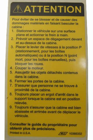 gmc topkickchevy kodiak caution label tilt cab