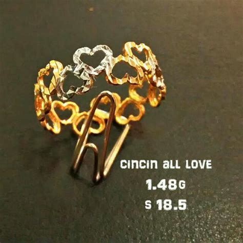 Cincin Emas Mewah 3 cincin emas 916 barangan mewah aksesori di carousell