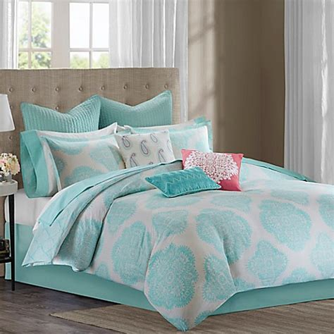 Aqua Bedding Sets Echo Design Bindi Comforter Set In Aqua Bed Bath Beyond