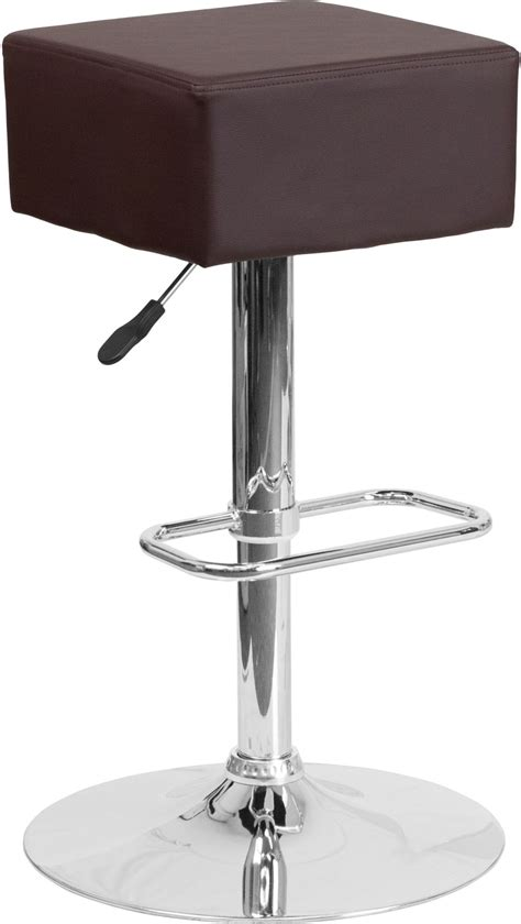 Bar Stools Square Seat by Square Swivel Seat Brown Vinyl Adjustable Height Barstool