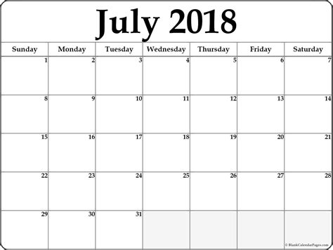 July 2018 Free Printable Blank Calendar Collection Printable Blank Calendar Template