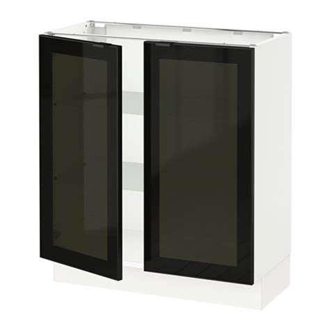 Smoked Glass Kitchen Cabinet Doors Sektion Base Cabinet With 2 Glass Doors White Jutis Smoked Glass Black 30x15x30 Quot Ikea