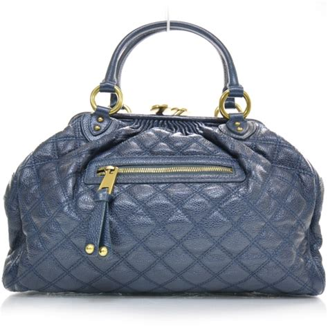 Minnillo And Marc Quilted Stam by Marc Quilted Leather Stam Petrol Blue 22047
