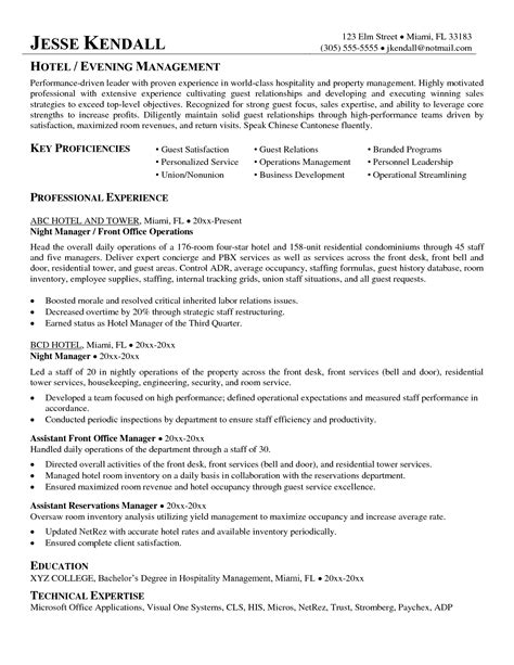 sle resume for hotel manager hotel supervisor resume