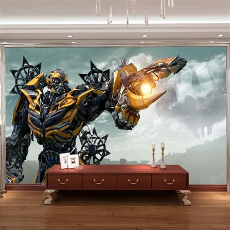 transformers bedroom decor 3d bumblebee wall mural transformers photo wallpaper boys