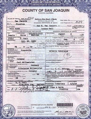 San Diego County Records Office Birth Certificate The Broersma S Ancestry Looking For Louisa M Millmeister