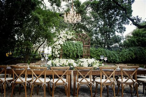 the allan house outdoor reception at the allan house bouquets of austin
