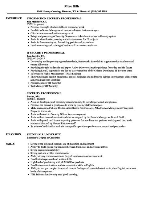 security professional resume sles velvet