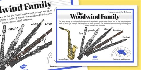 wind section instruments orchestra instruments woodwind family poster orchestra