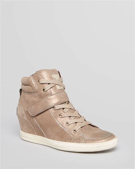 gold wedge sneaker paul green lace up wedge sneakers in gold gold