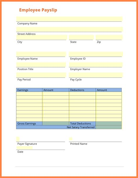 free salary slip template 6 free salary payslip template salary slip