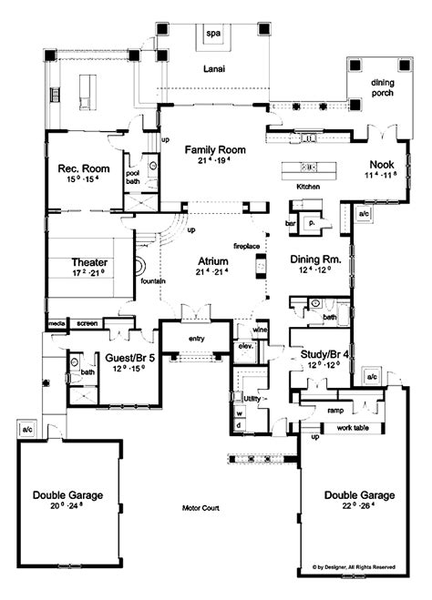 house plan with courtyard mediterranean floor plans with courtyard hacienda floor