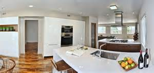 mid century modern open concept kitchen dining room and