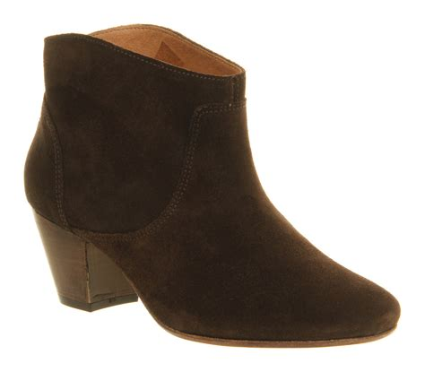 h by hudson mirar heeled ankle boot chocolate brown suede