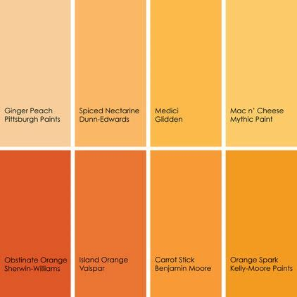 shades of orange color chart orange paint picks for bathrooms clockwise from top left