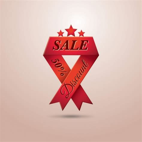sale ribbon 50 discount vector free download