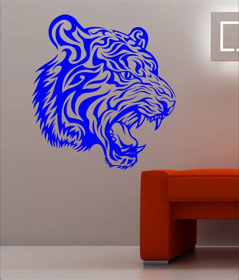 blue wall stickers buy wall1ders tiger blue wall sticker at best prices in