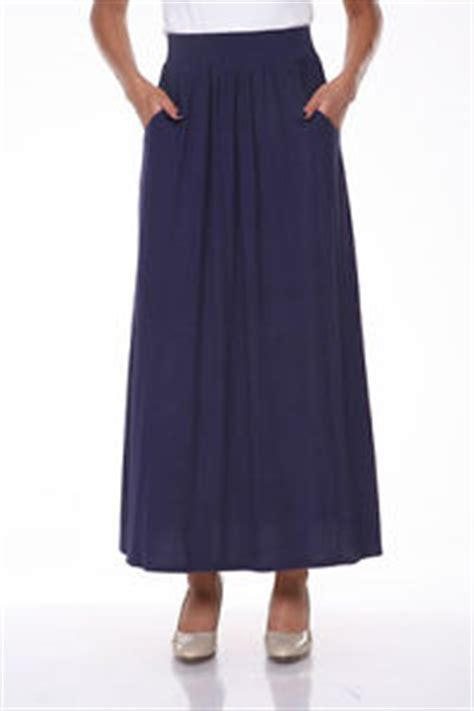 white s solid navy blue maxi skirt rayon