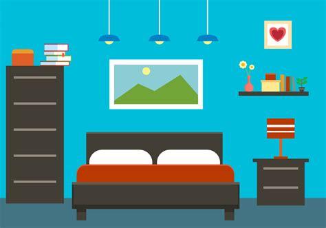 Teal Livingroom Free Flat Bedroom Interior Vector Illustration Download