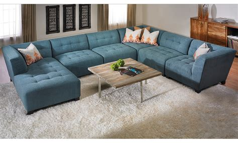 Livingroom Sectionals u shape blue suede tufted sectional sofa with right chaise