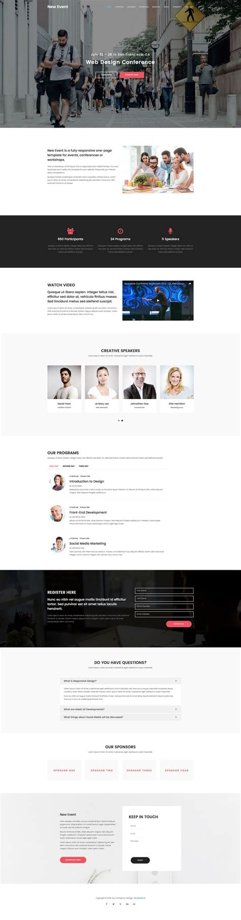 templates bootstrap events new event is a free responsive html5 event template using