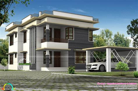 home design roof separate car porch flat roof home kerala home design and