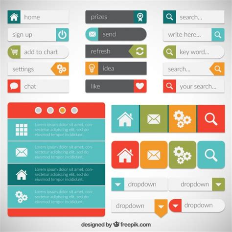 Homepage Design Elements | webpage elements vector free download