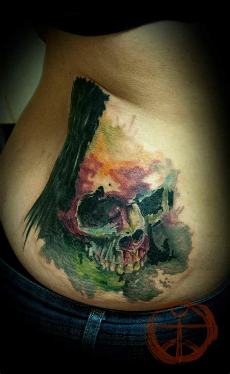 watercolor tattoo gallery watercolor skull by koraykaragozler tattooimages biz