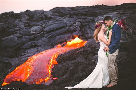 lava ls near me newlywed couple celebrate nuptials by posing in front of
