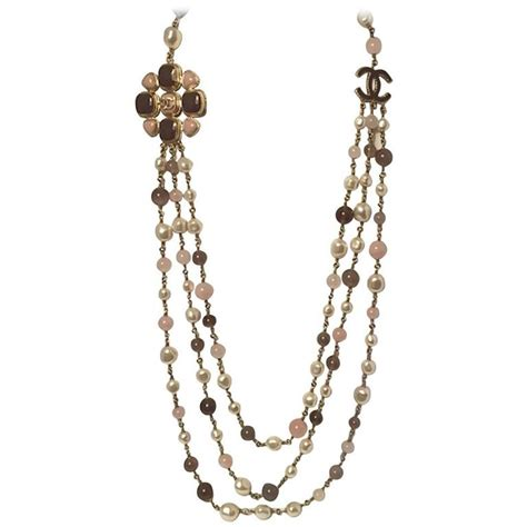 3 strand beaded necklace chanel three strand pearl quartz and agate bead