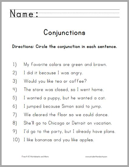 printable worksheets subordinating conjunctions circle the conjunctions worksheet for grade one free to
