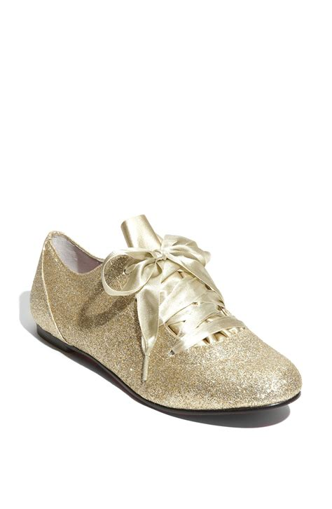 sparkle oxford shoes betsey johnson drrew g oxford in gold gold glitter lyst