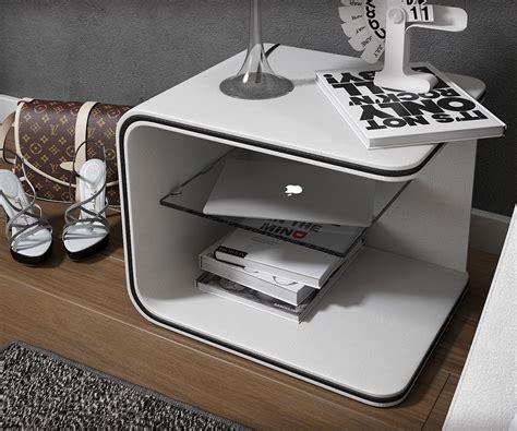 Nachttisch 40 X 40 Weiß by Nachttisch Oscar 52x40 Cm Weiss Mit Led Und Glasablage