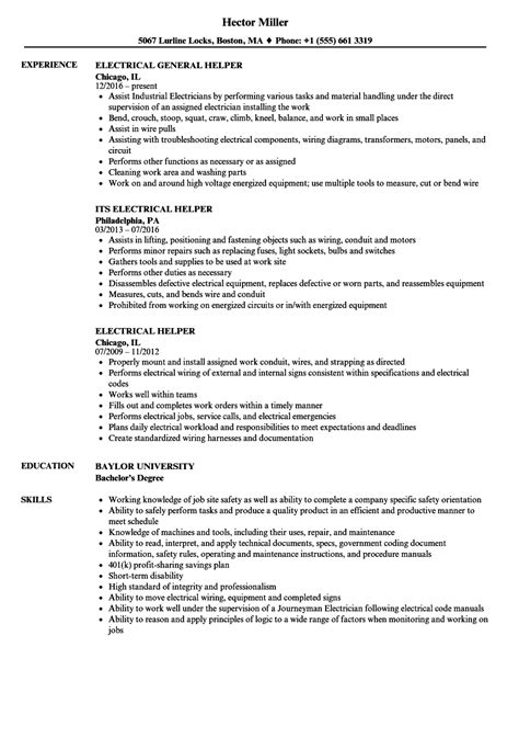 Electrician Helper Resume by Electrical Helper Resume Sles Velvet