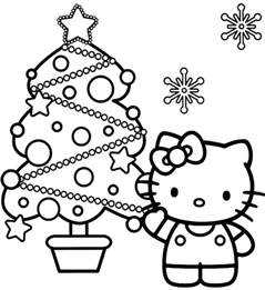 hello kitty and christmas tree coloring page coloring