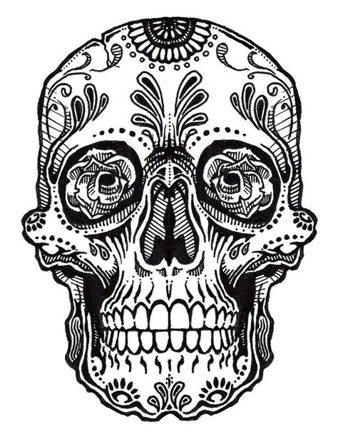 Best 25 Sugar Skull Drawings Ideas On Pinterest Day Of Mexican Skull Coloring Pages
