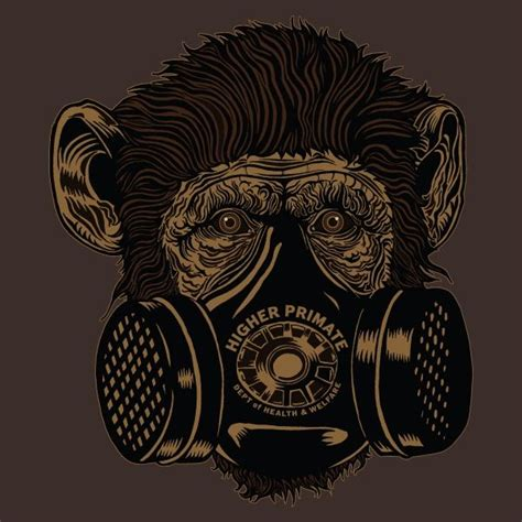 gas mask chimp tee higher primate com monkey s pinterest