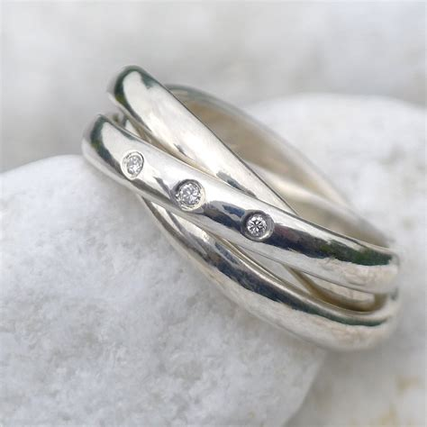 silver russian wedding ring with diamonds by