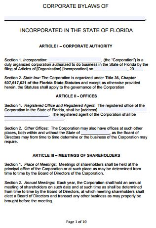 Free Florida Corporate Bylaws Template Pdf Word Robert S Of Order Bylaws Template