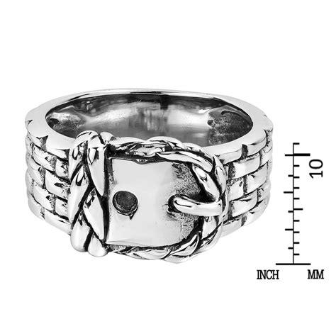 Unique Belt Ring Silver 8 sleek belt buckle braided band 925 silver ring 6 aeravida