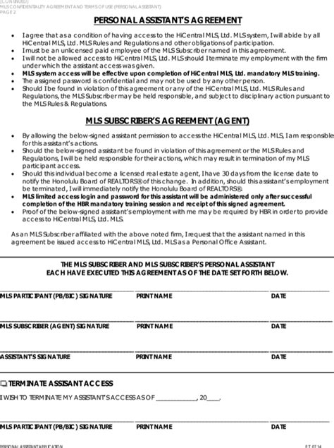 Download Legal Confidentiality Agreement And Terms Form For Free Page 2 Formtemplate Personal Assistant Confidentiality Agreement Template