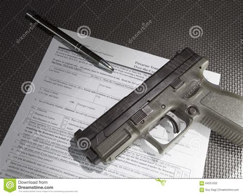 Pistol Background Check Firearm Sale Stock Photo Image Of Muzzle Silver Grey