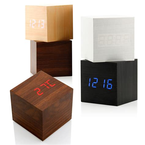 desk alarm clock new modern wooden wood digital led desk alarm clock thermometer timer calendar ebay
