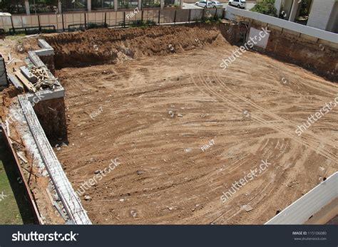 pit construction construction site city foundation pit construction stock