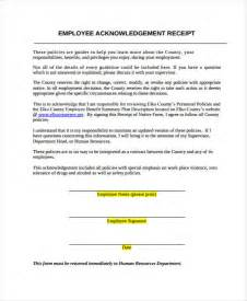 Acknowledgement Letter For Employee Handbook Acknowledgment Receipt Template